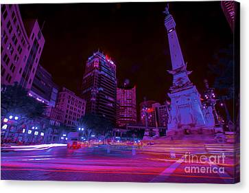 Monument Circle Indianapolis Light Streaks Night Canvas Print by David Haskett