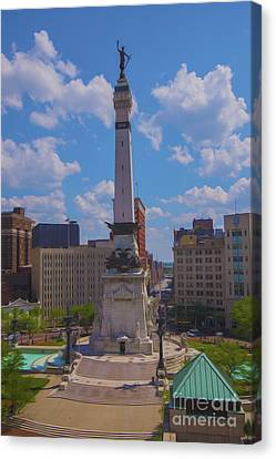 Monument Circle Indianapolis Soldiers And Sailors Monument Canvas Print by David Haskett