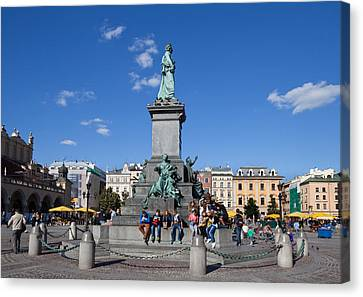 Monument To Adam Mickiewicz, The Great Canvas Print by Panoramic Images