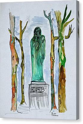 Balzac Canvas Print - Monument To Balzac Statue By Rodin by Richard Lawrence