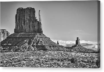 Canvas Print featuring the photograph Monument Valley 3 Bw by Ron White