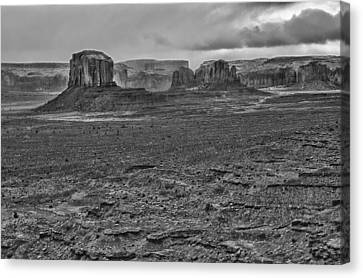 Canvas Print featuring the photograph Monument Valley 4 Bw by Ron White