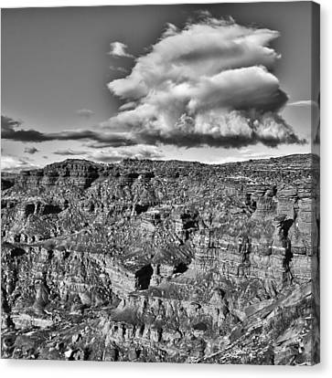 Canvas Print featuring the photograph Monument Valley 5 Bw by Ron White
