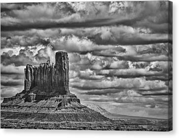 Canvas Print featuring the photograph Monument Valley 6 Bw by Ron White