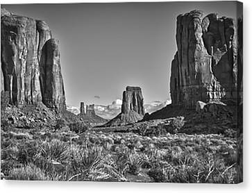 Canvas Print featuring the photograph Monument Valley 8 Bw by Ron White