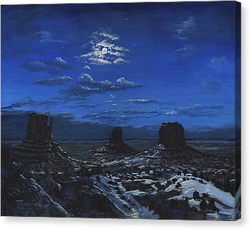 Monument Valley By Moon Light Canvas Print by Timithy L Gordon