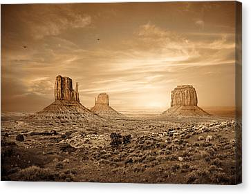Sepia Tone Canvas Print - Monument Valley Golden Sunset by Susan Schmitz