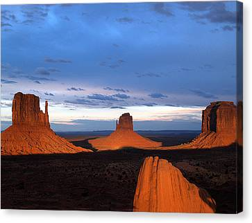 Canvas Print featuring the photograph Monument Valley @ Sunset 2 by Jeff Brunton