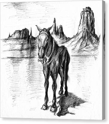 Monument Valley Mule - Western Art Canvas Print by Art America Gallery Peter Potter