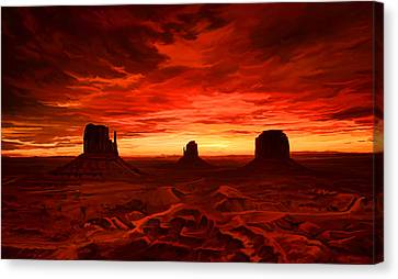 Canvas Print featuring the painting Monument Valley Sunset by Tim Gilliland