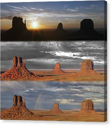 Monument Valley Triptych Canvas Print by Patrick Jacquet