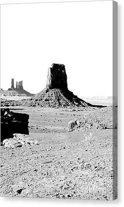 Monument Valley Utah Sanstone Butte Rising Up Above Desert Plain Bw Conte Crayon Digital Art Canvas Print by Shawn O'Brien