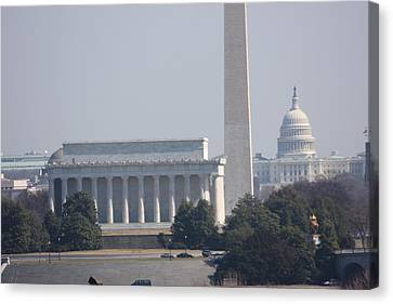 Monument View From Iwo Jima Memorial - 12122 Canvas Print by DC Photographer