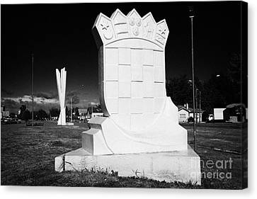 monumento al inmigrante croata croatian immigration monument in front of yugoslavian monument Punta Arenas Chile Canvas Print