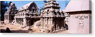 Monuments In A Temple, Panch Rathas Canvas Print by Panoramic Images