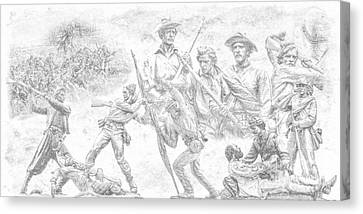 Monuments On The Gettysburg Battlefield Sketch Canvas Print by Randy Steele