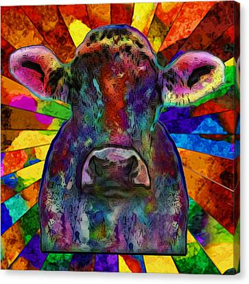 Moo Cow With Color Canvas Print by Jack Zulli