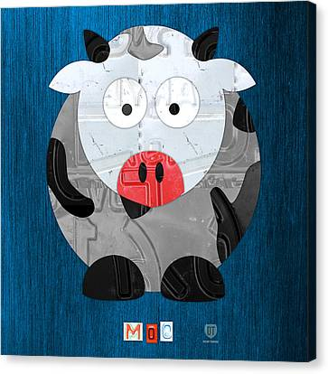 Moo The Cow License Plate Art Canvas Print by Design Turnpike