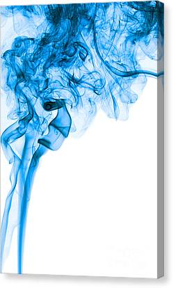 Abstract Vertical Deep Blue Mood Colored Smoke Art 03 Canvas Print by Alexandra K