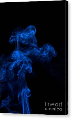 Abstract Vertical Paris Blue Mood Colored Smoke Art 03 Canvas Print by Alexandra K