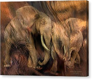 Moods Of Africa - Elephants Canvas Print by Carol Cavalaris