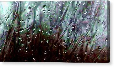 Canvas Print featuring the photograph Moody Blues Rain On The Window Series 2 Abstract Photo by Marianne Dow
