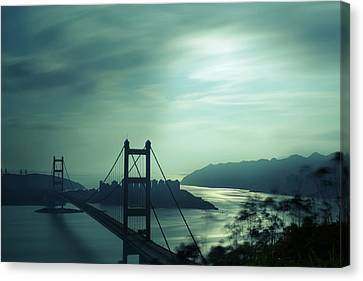 Canvas Print featuring the photograph Moody Bridge by Afrison Ma