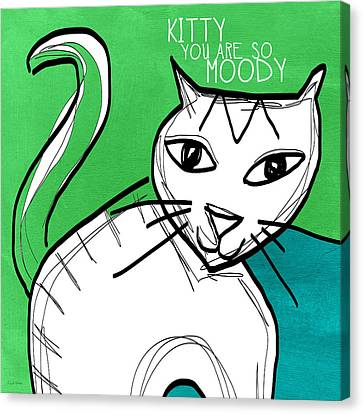 Moody Cat- Pop Art Canvas Print by Linda Woods