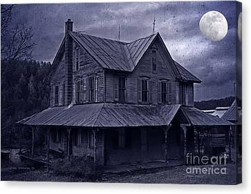 Abandoned House Canvas Print - Moody Moonlit Mansion by John Stephens