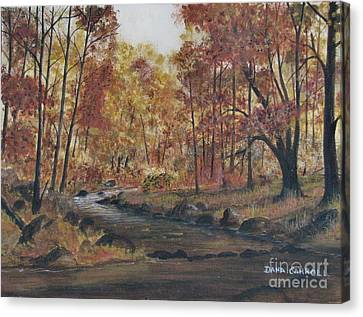 Moody Woods In Fall Canvas Print by Dana Carroll