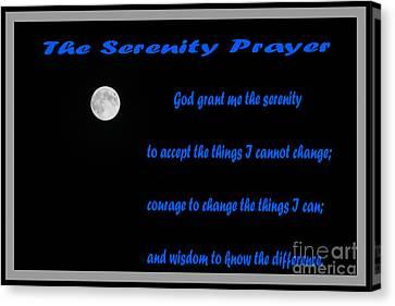 Moon - Serenity Prayer - Blue Canvas Print by Barbara Griffin
