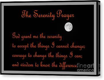 Moon - Serenity Prayer - Orange Canvas Print by Barbara Griffin