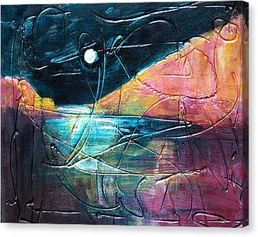 Moon And Lagune Canvas Print by Betty Pieper