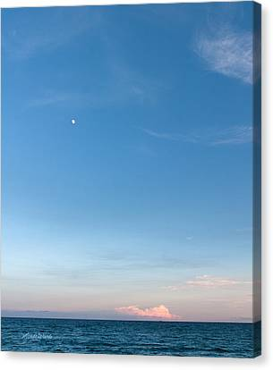 Moon And Pink Cloud Canvas Print by Michelle Wiarda