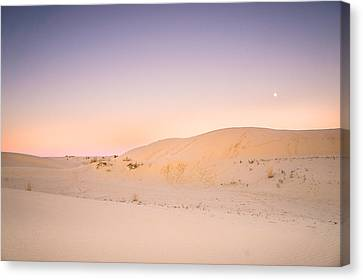 Sand Dunes Canvas Print - Moon And Sand Dune In Twilight by Ellie Teramoto