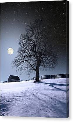Canvas Print featuring the photograph Moon And Snow by Larry Landolfi
