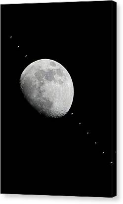 Moon And The Iss Canvas Print