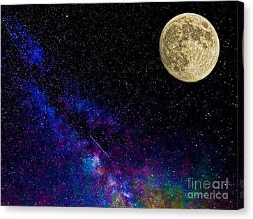 Moon And The Milkyway Compilation Photo Canvas Print by Robert Neiszer