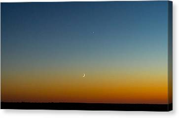 Waning Moon Canvas Print - Moon And Venus I by Marco Oliveira