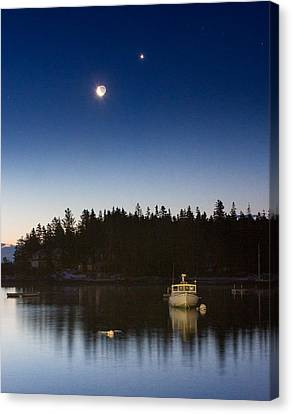 Moon And Venus Over Five Islands Canvas Print by Benjamin Williamson