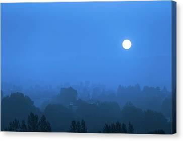 Moon At Night Canvas Print by Wladimir Bulgar