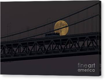 Canvas Print featuring the photograph Moon Bridge Bus by Kate Brown