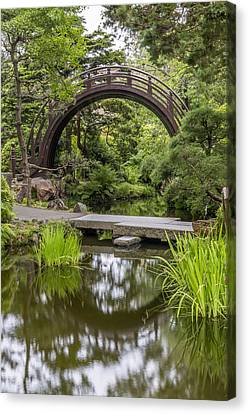 Tea Tree Canvas Print - Moon Bridge Vertical - Japanese Tea Garden by Adam Romanowicz