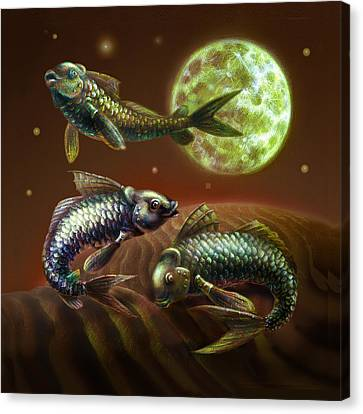 Moon Fish Pillow Canvas Print