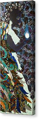 Canvas Print featuring the tapestry - textile Moon Guardian - The Keeper Of The Universe by Apanaki Temitayo M
