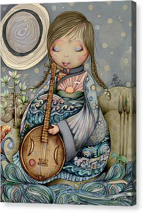 Lullaby Canvas Print - Moon Guitar by Karin Taylor