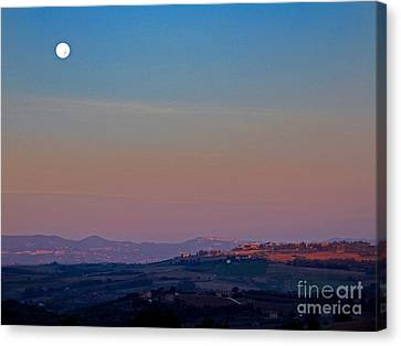 Moon Hanging Over Montepulciano, Italy Canvas Print by Tim Holt
