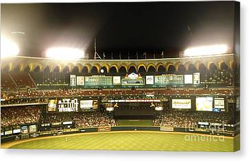 Canvas Print featuring the photograph Moon In The Arches-edited by Kelly Awad