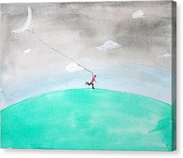 Moon Is My Kite Canvas Print by Keshava Shukla