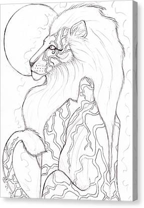 Moon Lion Sketch Canvas Print by Coriander  Shea
